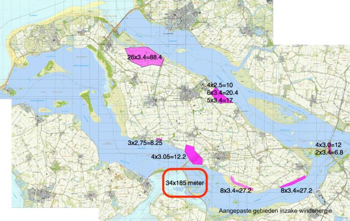 Kaart windparken Goeree Overflakkee